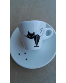 KUMADOGSCARE Set di tazzine da caffè con immagini di gatti.