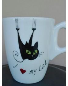 KUMADOGSCARE Mug in ceramica dipinta a mano con immagine di un gatto.